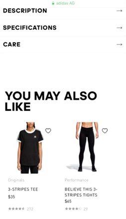 Adidas.com.us Upsells Crosssells
