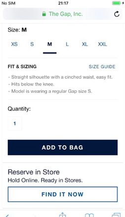 Gap checkout process