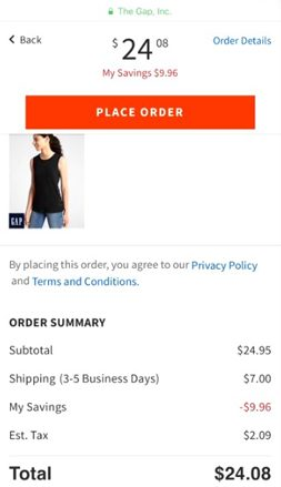Gap.com PlaceOrder