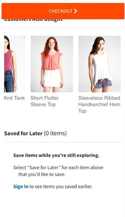 Gap.com Upsells Crosssells