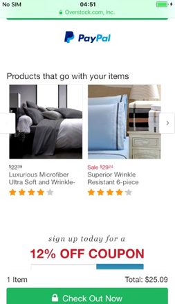 Overstock.com Upsells Crosssells