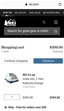 REI.com Add To Cart