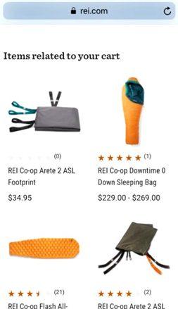REI.com Upsells Crosssells