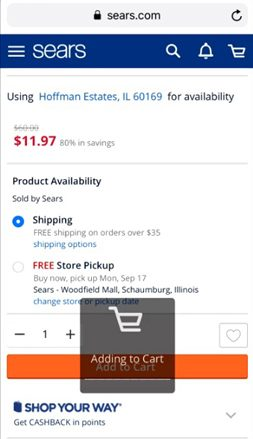 Sears.com Add To Cart
