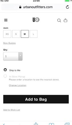 Urban Outfitters checkout process