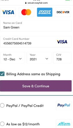 Wayfair.com Billing