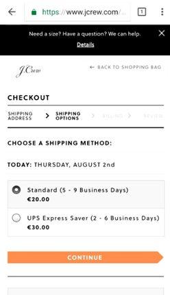 jcrew shipping
