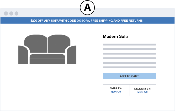 couch free shipping VA